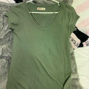 Army green hollister tight tshirt